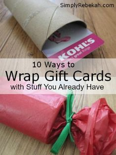 Gift cards are easy to give, but annoying to wrap! Here are 10 ways that you can easily wrap gift cards with stuff you already have in your house. Cheap and Easy! Love it!