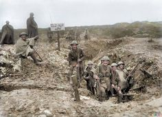 This photo is thought to be of the 16th (Service) Battalion (3rd Birmingham Pals) The Royal Warwickshire Regiment, 5th Division, on the Somme front in March 1917. The soldier in the centre with dented helmet (who joined when he was only fourteen) was identified by his Grandson as being in the Warwickshire Regiment and that few of the others in this photo survived the war.