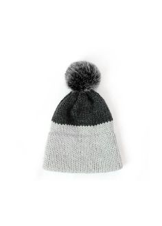 READY TO SHIP Knitted Double Brim Hat in Light and Dark Gray- Dakotah Knits