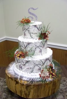White Camo Wedding Cake Glitter Snow Rhinestone Monogram
