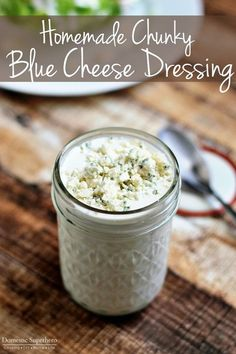 The Best Ever Homemade Chunky Blue Cheese Dressing - cool, creamy, tangy, and chunky blue cheese - SO easy and SO delicious! (Blue Cheese Chips)