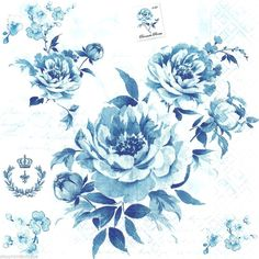 20 Shabby Chic Style Out of the Blue Roses Floral Paper Napkins Decoupage