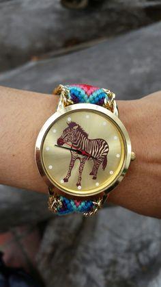 Reloj pulsera tejido trenzado. Elaborado a mano Modelo cebra #reloj #pulsera #tejido #mano #modelo #cebra. $35.950
