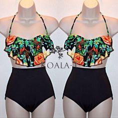 Floral Print Flounce Halter Top & Black High Waist Bikini!