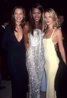 90's - (from left) Christy Turlington, Naomi Campbell & Kate Moss