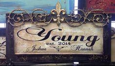 Custom Plaque with Gold Fleur de Lis Signsfordesign.com