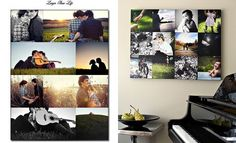 Mix of colored and b photos - i would love to have something like this on the wall in my home.