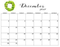 30 Best December Printable Calendar 2018 Editable Monthly