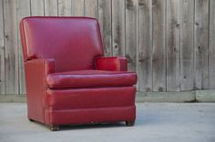 Vintage Red pLeather Recliner  BEAUTIFUL by 8trackstudios on Etsy, $375.00
