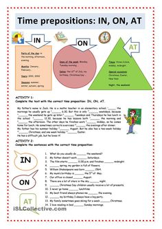 Time Prepositions: IN, ON, AT worksheet - Free ESL printable worksheets made by teachers English Prepositions, English Grammar Worksheets, Grammar Lessons, English Vocabulary, English Language Learning, Teaching English, English Lessons, Learn English, Ingles Kids