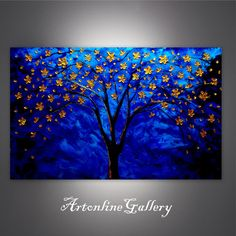Canvas Print Golden tree Flower paintings by ArtonlineGallery Small Canvas Paintings, Large Canvas Art, Oil Painting Flowers, Painting & Drawing, Flower Paintings, Oil Paintings, Tree Art, Art And Architecture, Diy Art
