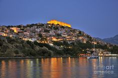 Molyvos village during dusk time by George Atsametakis Architecture People, Greece Travel, San Francisco Skyline, Perfect Place, Places Ive Been, Stuff To Do, Beautiful Places, Earth