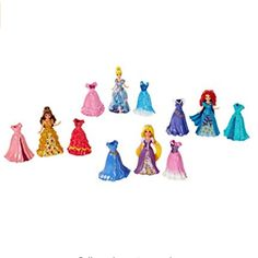 Disney Princess Little Kingdom Magiclip Fashion Gift Set  Includes Belle Merida Cinderella Rapunzel Dolls  16 Pc Set (4 Dolls 12 Magiclip Dresses)