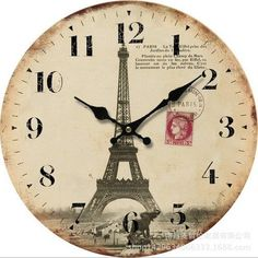 Schmuckbox 14' European and American style retro colorful rustic Tuscan-style non-ticking silence wooden clock with the Eiffel Tower *** Unbelievable  item right here! : home diy wall