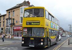 Blackpool Transport Leyland Olympian/East Lancs in Blackpool on the July Blackpool England, Olympians, Buses, Transportation, Coaching, The Past, Modern, Training, Trendy Tree