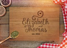 Personalized Cutting Board - Custom Anniversary Gift - Engraved Cutting Board - Name - Est. Year Engraving - Wedding Present - CB232