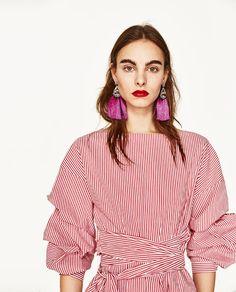 Image 1 of POMPOM EARRINGS from Zara