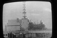 Archive photo of TV news about Chernobyl disaster, 1986.
