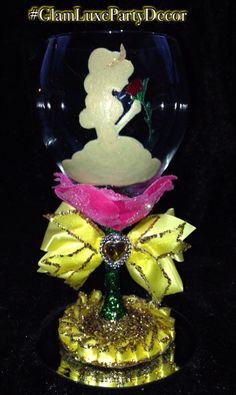 Beauty and the beast belle glitter wine glass bachelorette drink ️gift favor bridal shower idea $39