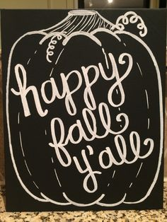 Chalkboardinspired Happy Fall Y'all Canvas by theCuriousChalkboard, $22.00