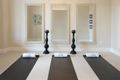 Yoga Room mirrors - another trick to brighten a room with no windows. Plus, good for checking correct posture in yoga poses.