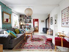 モロッコ × スカンジナビアンMIX、涼しげターコイズブルー部屋 in ... salón-escandinavia