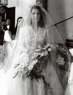 The Duchess of Montoro (Cayetana Fitz-James Stuart) her first wedding in 1947 - now  Duchess of Alba in 1956 ~one of the premier grandees of the Kingdom of Spain, holding the Guinness record for most titles of a single person in the world. Her full name is Maria del Rosario Cayetana Fitz-James Stuart y Silva 18th Duchess of Alba, and she is a descendant of King James II of England and Scotland, through the Dukes of Berwick. She was born in 1926 & was a great beauty in her youth.