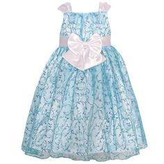 Mia Juliana Little Girls Blue Glitter Pattern Satin Bow Easter Dress 4T