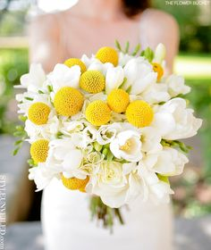 """Yellow """"Billy Balls"""" really pop in a sea of white flowers for a wedding bouquet. Spring Wedding Bouquets, Spring Bouquet, Bride Bouquets, Flower Bouquet Wedding, Greenery Bouquets, Bridesmaid Bouquets, Bouquet Flowers, Spring Flowers, Yellow Wedding"""