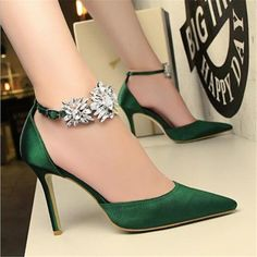 BIGTREE new Women Pumps Rhinestones High-heeled Shoes Thin Pink High Heel Shoes Hollow Pointed Stiletto Elegant Wedding shoes High Heel Pumps, Rosa High Heels, Pink High Heels, Stiletto Pumps, Womens High Heels, Women's Pumps, Shoes Heels, Heeled Sandals, Green Heels