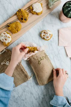 DIY Embroidered Burlap Gift Bags