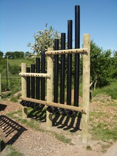 call me crazy, but this would be a fun approach to creating a windbreak in the g… – natural playground ideas Kids Outdoor Play, Outdoor Learning, Sound Sculpture, Sensory Garden, Tower Garden, Outdoor Classroom, Le Havre, Music Wall, Musical Instruments