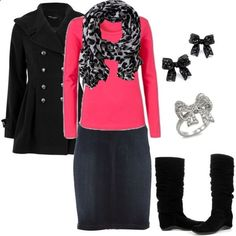 Snow leopard scarf over bright long sleeve skirt with jean skirt and boots. Too cute!