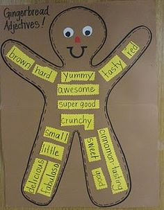 adjectives for gingerbread, is an activity that students may use to show of their art skills and language art skills. Grades 1st to 3rd could us an activity like this to help learn adjectives and fine motor skills with cutting and art.