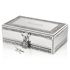 Silver Jewelry Box with Lock