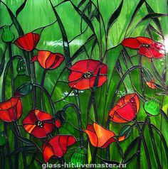 I love poppies. I love stained glass. I love this stained glass of poppies. Mosaic Flowers, Stained Glass Flowers, Stained Glass Designs, Stained Glass Panels, Stained Glass Projects, Stained Glass Patterns, Leaded Glass, Stained Glass Art, Mosaic Glass