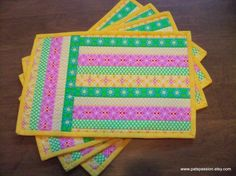 Striped Quilted Placemats  Pink Green Yellow Set of 4
