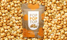 """Thiago Dias – Pop Pop Top """"Conceptual design for gourmet popcorn brand. The challenge was to create a design that represented the main characteristics of the product and the brand, with a friendly, organic, handcrafted and impactful approach. Popcorn Packaging, Packaging Snack, Food Packaging Design, Packaging Ideas, Snack Brands, Popcorn Shop, Photography Packaging, Food Photography, Italian Foods"""