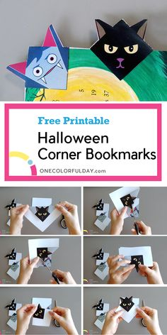 Four Halloween Bookmarks that can double as Halloween decorations. Make a vampire, a bat, a black cat, and a Frankenstein bookmark. A great craft for kids. Easy Origami For Kids, Origami Easy, Printable Crafts, Printables, Halloween Ideas, Halloween Decorations, Crafts To Make, Crafts For Kids, Corner Bookmarks