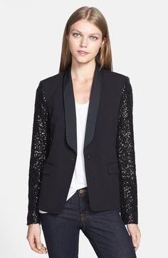 MICHAEL Michael Kors Sequin Sleeve Tuxedo Blazer available at #Nordstrom