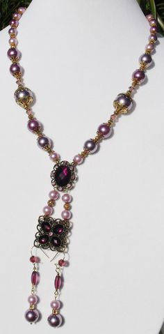 Purple pearl jewelry gold Renaissance jewelry by ElmsRealm on Etsy