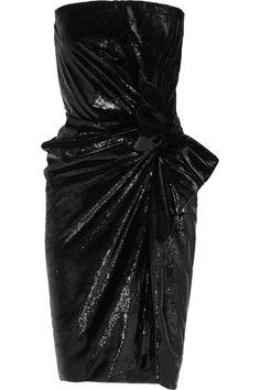 Lanvin|Trägerloses Kleid aus Samt in Metallic-Optik|NET-A-PORTER.COM