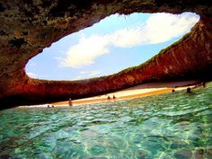 Hidden beach on Marieta Islands off the coast of Puerto Vallarta Mexico