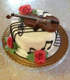 Violin Cake with music notes Music Themed Cakes, Music Cakes, Unique Cakes, Creative Cakes, Chocolate Meringue Cake Recipe, Cake Chocolate, White Chocolate, Fondant Cakes, Cupcake Cakes