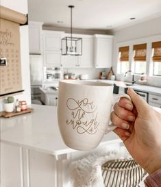 """""""You Are Enough"""" ceramic mug, hand-lettered by Sarah of Chalkfulloflove! Perfect for your morning cup of coffee! Marble matte finish with gold metallic lettering. Shop now!"""
