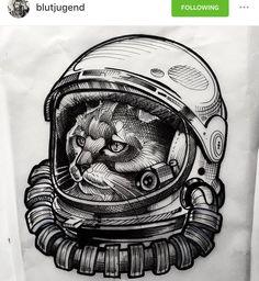 Black astronaut tattoo