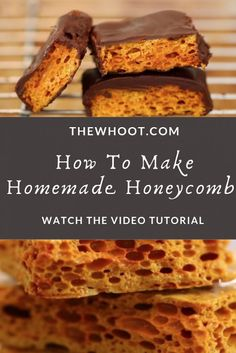 Learn to make your own Homemade Honeycomb Recipe for making Crunchie Bars or adding to this homemade ice cream! Watch the video here. Hard Candy Recipes, Sweet Recipes, Chocolate Covered Honeycomb Recipe, Crunchie Bar, Honeycomb Candy, Just Desserts, Dessert Recipes, Bigger Bolder Baking, Toffee Recipe