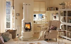 Modern tiled stoves give your home style and coziness - Decoration Solutions Style At Home, Scandinavian Tile, Living Room Designs, Living Spaces, Cosy House, Living Room Kitchen, Log Homes, My Dream Home, Home Furniture