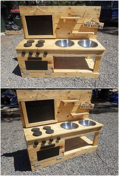 A sort of creative and simple variation designing of the pallet mud kitchen has been custom added up with the wood pallet superb enrollment. You can visible view the stacking of the pallet planks has been put together inside it… Continue Reading → Kids Outdoor Play, Backyard For Kids, Diy For Kids, Outdoor Play Kitchen, Diy Pallet Furniture, Diy Pallet Projects, Wood Projects, Diy Childrens Furniture, Small Wooden Projects