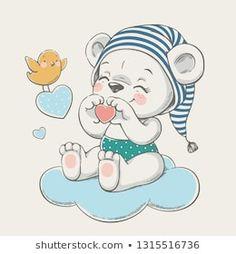 Hand drawn vector illustration of a cute baby bear in a striped nightcap, sittin. Elephant Illustration, Cute Illustration, Amazing Drawings, Cute Drawings, Illustration Mignonne, Baby Animal Drawings, Illustrator, Baby Cartoon, Cute Wallpapers